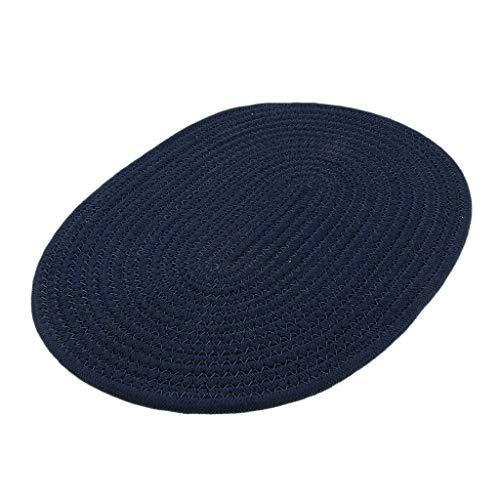 Sharplace 30 * 40cm Coton Tressé Table Ronde Napperon Isolant Thermique Mat Bleu Foncé