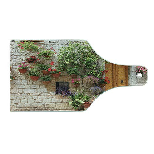 Lunarable Tuscan Cutting Board, Begonia Blossoms in Box Window Wooden Shutters Brick Wall Romagna Italy, Tempered Glass Serving Board, Wine Bottle Shape, Medium Size, Orange White