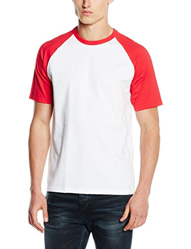 Fruit of the Loom Baseball Classic Short Sleeve T-Shirt, Blanc/Rouge, L Homme