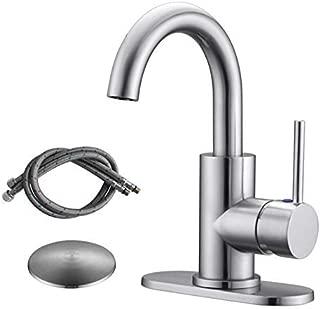 RKF Single-Handle Swivel Spout Bathroom Sink Faucet (Brushed Nickel)