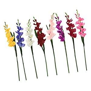 Baoblaze Set of 8Artificial Gladioli Spray Stem Fake Silk Tropical Flowers Gladiolus 80cm