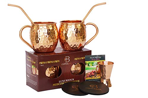 Moscow Mule Copper Mugs - Set of 2-100% HANDCRAFTED Pure Solid Copper Mugs - 16 oz Gift Set with Highest Quality Cocktail Copper Straws, Jigger, Coasters & 2 E-Books by Copper-Bar