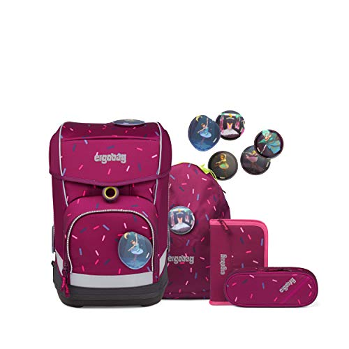 ergobag cubo light Set - ergonomischer Schulrucksack, extra leicht, Set 5-teilig, 780 g - Der NussknackBär - Lila
