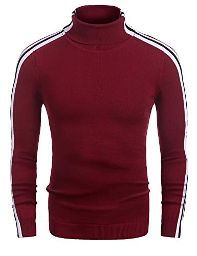 Coofandy Mens Casual Slim Fit Stripe Ribbed Knit Pullover Turtleneck Sweater, Red, Medium