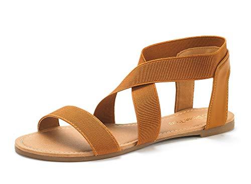 DREAM PAIRS Sandals for Women Elatica-6 Tan Elastic Ankle Strap Flat Sandals - 9 M US