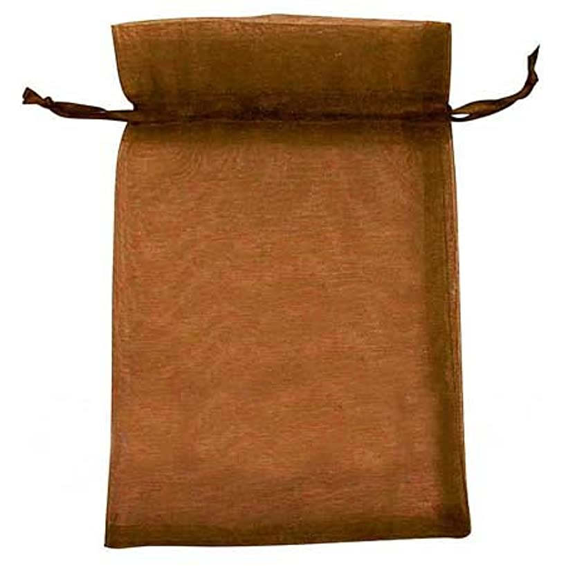 PEPPERLONELY Brand 100PC Brown Party Favor Drawstring Organza Gift Bags 150x100mm (6x4 Inch)