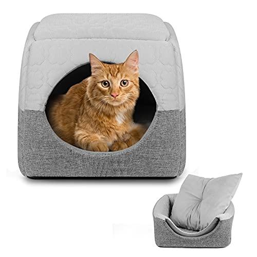 猫 ベッド ペットベッド 猫ハウス ドーム型 クッション型 折り畳み 2WAY ホットカーペット対応 ふわふわ クッションマット付 冬 通年タイプ 洗える 寒さ対策 小型犬 猫用 (L, グレー)