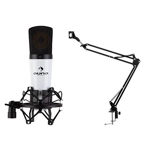 auna MIC-920 - USB Mikrofon-Set V3, 2-teilig: Kondensatormikrofon & Mikrofonarm, Nieren-Charakteristik, Tischarm: Klemmhalterung/schwenkbar/faltbar, Schutztasche, weiß