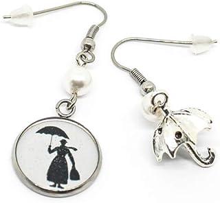 Orecchini pendenti acciaio con sagoma di Mary Poppins e ombrello
