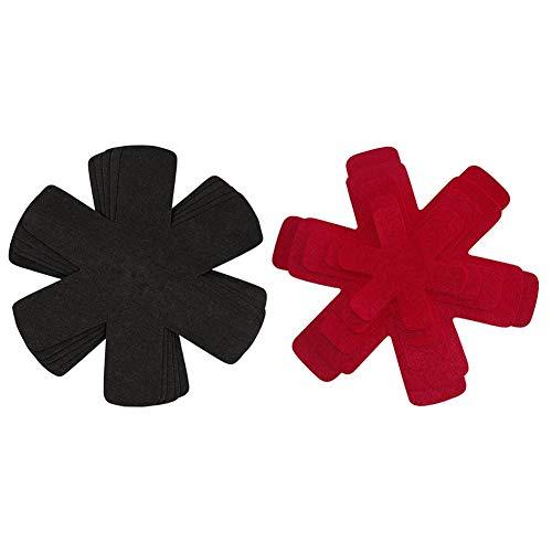 Basisago Stapelschutz Und Pfannenschutz Vorteilspaket Aus Filz Extra Dicke Pfannenschützer Sicherheit Und Ordnung Für Pfannen And Töpfe Schwarz Rot 38cm