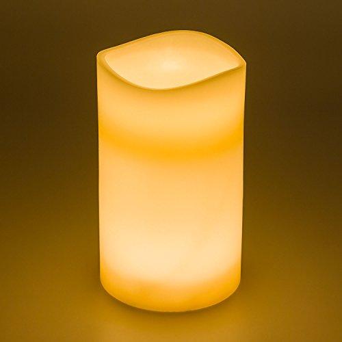 LuminalPark Bougie en Cire Ivoire à Piles Ø 15 cm, H 25 cm, LED Blanc Chaud avec minuteur