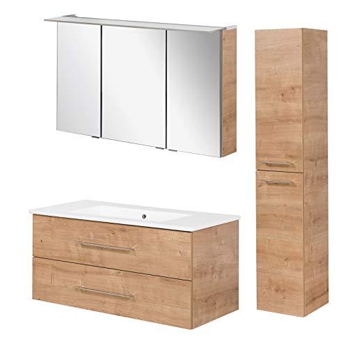 FACKELMANN braunes Badmöbel Set B.Perfekt 3-TLG. mit Waschtisch Unterschrank inkl. Keramikbecken hängend 100 cm & LED Spiegelschrank