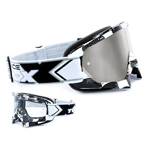 TWO-X Race Crossbrille Factory - Gafas de motocross, cristal negro y blanco, cristal de espejo plateado, gafas MX para motocross, enduro, gafas de protección antiarañazos, gafas MX