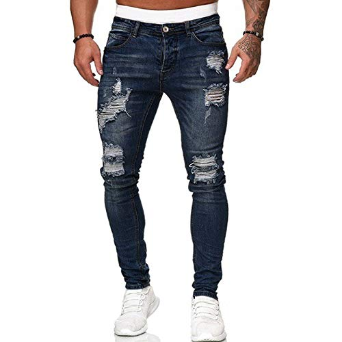 WangsCanis uomini di modo fori denim pantaloni jeans strappati pantaloni skinny jeans slim fit lunghi denim di lavoro pantaloni(blu scuro,s)
