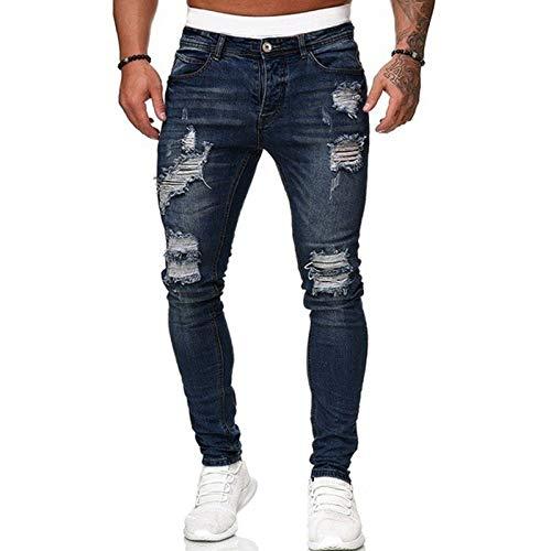 Dazzerake Vaqueros con cordones para hombre, pantalones de cintura media, estilo clásico, estilo salvaje, informal azul oscuro M