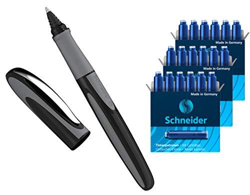 Schneider Ray Tintenroller (Nachfüllbar mit Standard Tintenpatronen, geeignet für Rechts- und Linkshänder) (1 Stück + 18 Patronen extra) Onyx