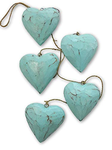 Thai Gifts Wooden Heart Garland - Shabby Chic Wall Art - String of 5 Hearts - Duck Egg Blue