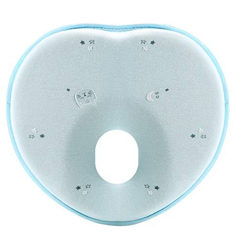 Baby Schlafkissen, orthopädisches Babykissen gegen flachen Kopf und Kopfverformung,Memory Foam Schlafkissen mit abwaschbarem Bezug (Blau)