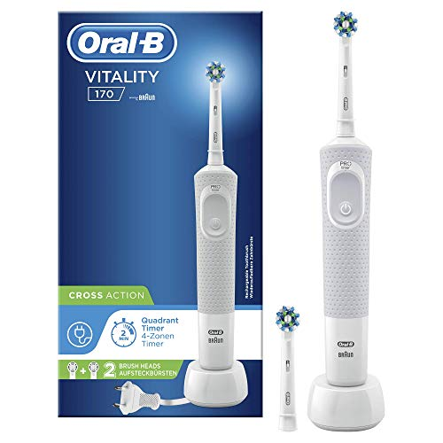 Oral-B Vitality 170 CrossAction, Cepillo eléctrico, 1mango, 2 cabezales, color blanco