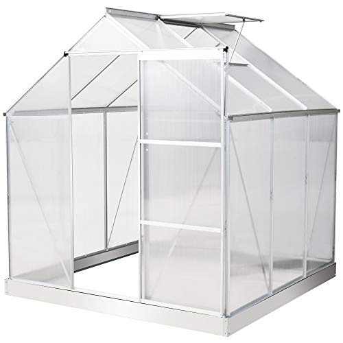 Outsunny 6 x 6 FT Walk-In Greenhouse Polycarbonate Panels Aluminium Frame w/Sliding Door Adjustable Window 3.6㎡ Inner Area Plant Vegetable Flower Grow Green House Protection