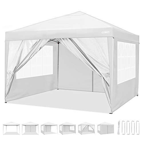 Pop Up Gazebo 3x3m Folding Garden Canopy Heavy Duty with 4 Side Panels, Top Cloth PVC Coating Waterproof & Sun Protection Portable Gazebo Party Tent Commercial Tents with Carry Bag