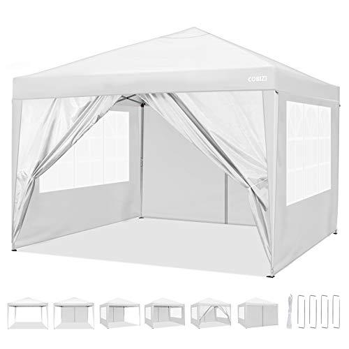 COBIZI Carpa de jardín 3x3m Cenador Plegable Gazebo Impermeable con 4 Paredes, Protección UV 50+, Ajustable en Altura, Pabellon de Jardin Plegable Event Shelter para Patio/Camping/Playa/Fiestas