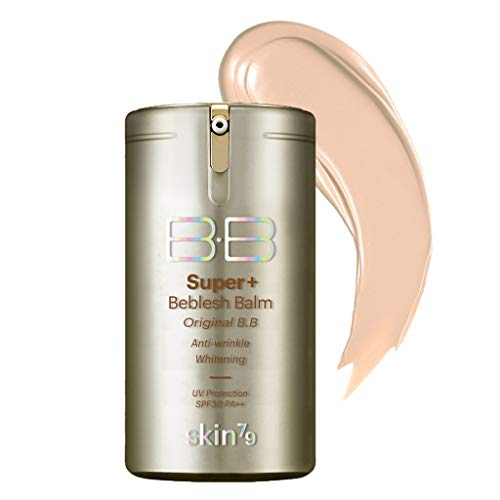 [SKIN79] Super Plus Beblesh Balm Original Gold BB #21 Natural Beige (SPF30/PA++) 1.35 fl.oz. (40g) - Gold and Cavier Extracts Provide Moisturizing & Nourishing Skin Makeup, Flawless Coverage and Silky