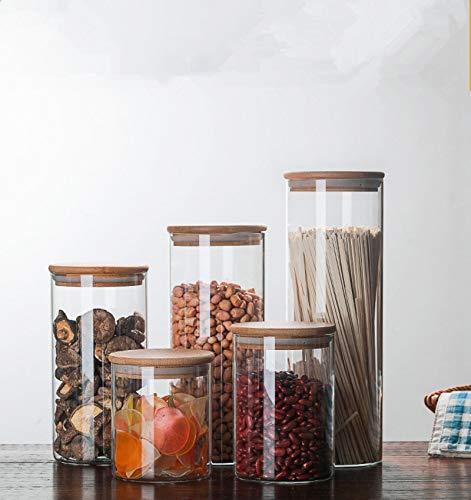 Tarro de Caramelo para Especias Recipiente Transparente de Vidrio Frascos de Vidrio con Tapas Tarro de Galletas Cocina Granos de café Caja de Especias Almacenamiento de clasificación