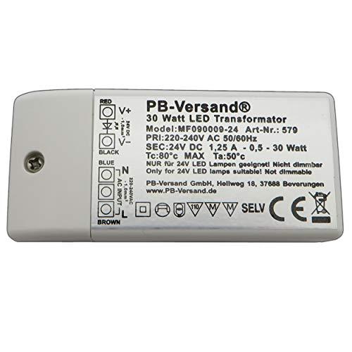 LED Leuchmittel mini Trafo 24 Volt DC 30 Watt (H 20mm) Gleichspannung Netzteil Treiber Transformator Driver Niedervolt LED-Transformator (Trafo 30W 24 Volt)