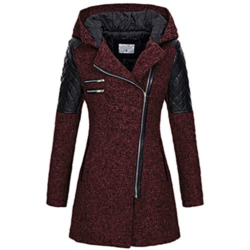 Briskorry Wintermantel Damen Mantel Jacken mit Kapuze Revers Warmer Winterjacke Zipper Winter Outwear Slim Dicke Parka Kapuzenjacke Übergangsjacke 2019 Winter Trenchcoat