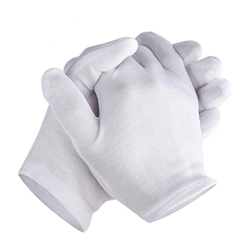Zealor 6 Pairs Cotton Gloves Thickened Stretchable Lining Glove, Coin Jewelry Silver Inspection Gloves, Large Size