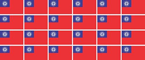 Mini Aufkleber Set - Pack glatt - 33x20mm - Sticker - Myanmar - Flagge-Banner-Standarte fürs Auto, Büro, zu Hause & die Schule - 24 Stück