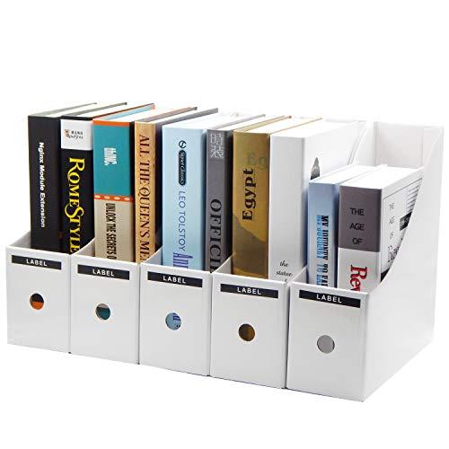 TOSSOW Kraftpapier Aufbewahrungsbox 5 stücke Datei Magazinhalter Kraftpapier Tisch Aufbewahrungsbox für Home Office Zeitungsständer Dateien Ordner Dateien Füllung Rack Box (Weiß)
