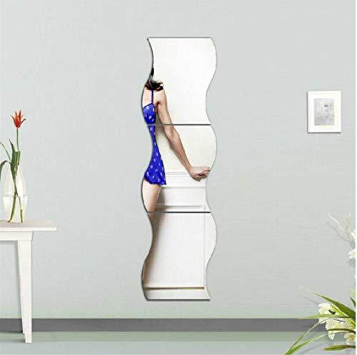 ZHANG6 Stk. Wellenform Selbstklebende Fliesen 3d-spiegel Wandaufkleber Aufkleber Raumdekorationen Moderne Spiegelfliesen Aufkleber Hot Sale