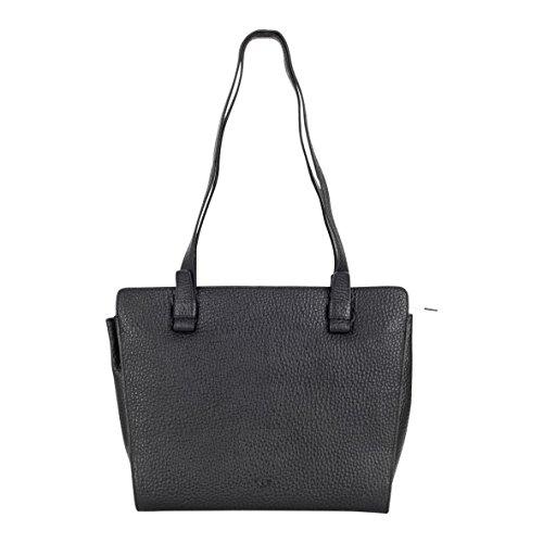 VOi lederen schoudertas 21855 elegante handtas shopper zakelijke tas aktetas A4 formaat zwart