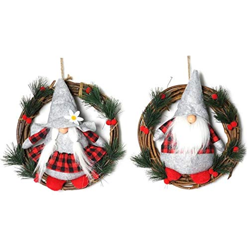 PIKAqiu33 Christmas Wreath Christmas Decorations 10 Inch Natural Rattan Ring Faceless Doll, Home Decor, for Xmas Day and New Year (As Shown)