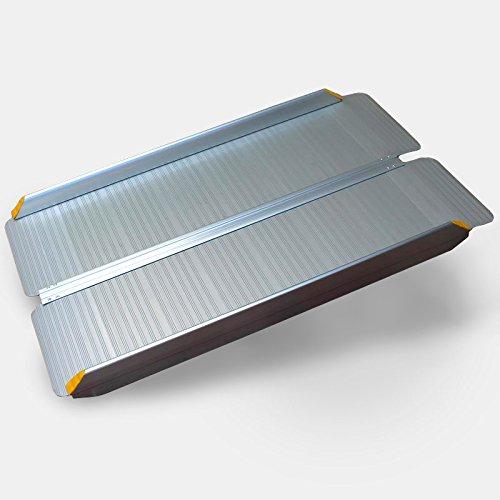 FT-Germany 1,2m / 120cm klappbare Alu Rollstuhlrampe bis 400kg EXTRABREIT für Rollstühle, Rollatoren oder Kinderwagen, Auffahrrampe für Treppen, mobile Rampe