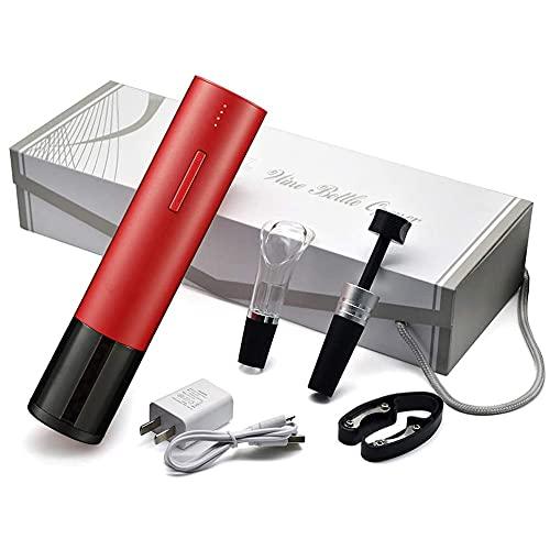 Angelay-Tian Juego de abridores de Botellas de Vino eléctricos, combinación automática de sacacorchos con Cortador de Papel de Aluminio Adjunto, tapón de vacío, aireador de Vino, vertedor