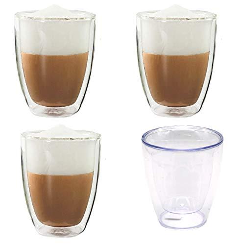 Bada Bing 4er Set Transparente Becher Doppelwandig Ca. 200 ml Thermo Gläser aus Kunststoff Isoliereffekt Wasserglas Teeglas Kaffeebecher 27