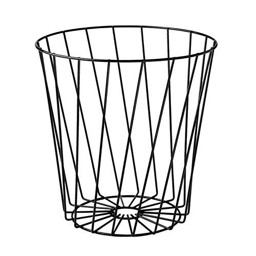 Bote de basura Basura hueca hueca de hierro forjado Metal doméstico sin tapa de basura de basura de basura redonda Malla redonda Papelera de reciclaje Barjeta de reciclaje 2 colores Bote de basura hum