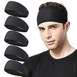 Acozycoo Mens Running Headband,5Pack,Mens Sweatband Sports Headband for Running, Cycling, Basketball,Yoga,Fitness Workout Stretchy Unisex Hairband (5 Black)