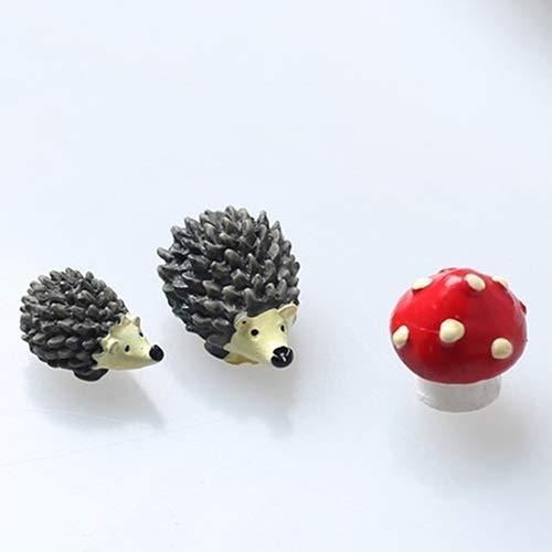 Nologo 闪电 3pcs / Set Hadas gnomos del jardín Musgo terrario de Resina Artesanal Decoración Artificial Mini erizos con Red Dot Mushroom Regalo de los niños