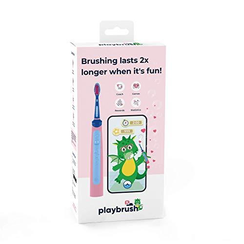 Playbrush Smart Sonic elektrische Zahnbürste, weiche Borsten, geeignet für Kinder ab 3 Jahren, Sonische rotierende Bewegungen, 2 Reinigungsmodi, Drucksensor, Rosa