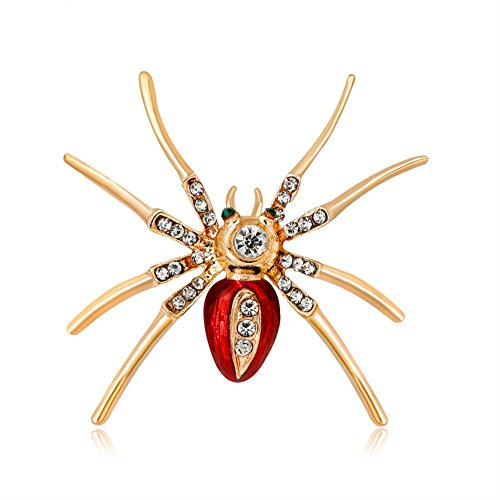 Nikgic Ladies Clothing Accessories Decorative Brooches Alloy Insect Brooch Spider Lady corsage Brooch with Rhinestone size 4.8 * 4.5 cm (Red)