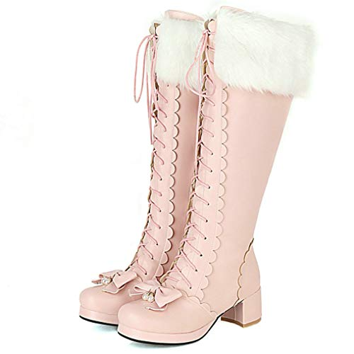 COCOLULU Damen Blockabsatz Kniehohe Stiefel zum Schnüren Lolita Boots Lace Up Knee High Boots(EU Size 41, Rosa)
