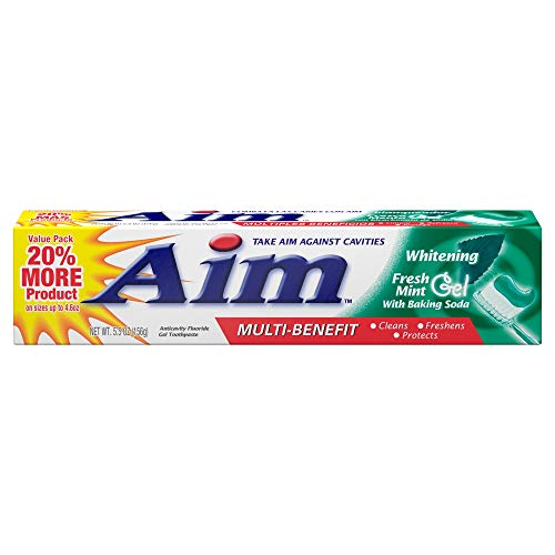 Aim Anticavity Toothpaste Gel, Multi-Benefit Whitening with Baking Soda, Fresh Mint 6 oz (170 g) by AB