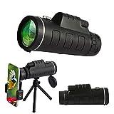 40 x 60単筒望遠鏡 可変焦点 光学 ハイビジョンレンズBAK4 霧や地震を防ぐ スマートフォンホルダーの使用に使い 三脚台 固定レンズカバー 大人の鳥野生生物の風景を見て望遠鏡 Black OneSize