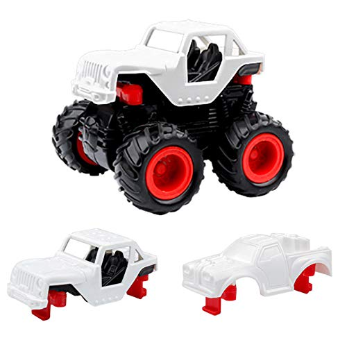 Hunpta Pull Back Off Road Cars Toys with DIY Crafts Graffiti Painting Kit, Inertial Friction Stunt Car Educational Toys Christmas Xmas Birthday Presents Stocking Fillers Gift for Kids Boys Girls