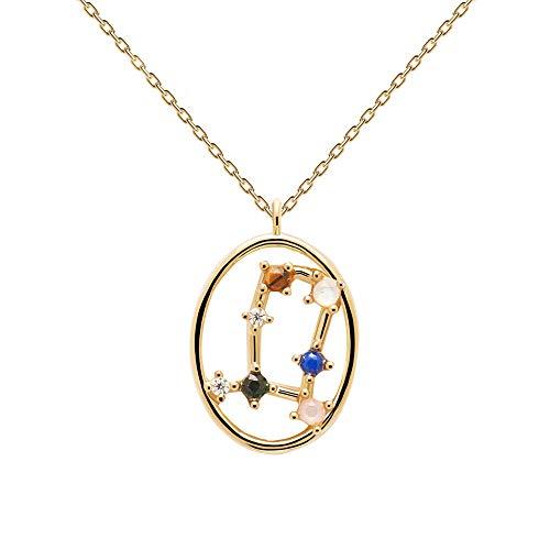 PDPAOLA - Collar Géminis - Plata de Ley 925 Bañada en Oro de 18k - Joyas para Mujer