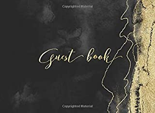Guest Book: Black Gold Marble Attendee Sign In Wedding Guestbook Keepsake for Well Wishes for Over 300 Guests: Includes Gift Log & Bonus Blank Memory Pages